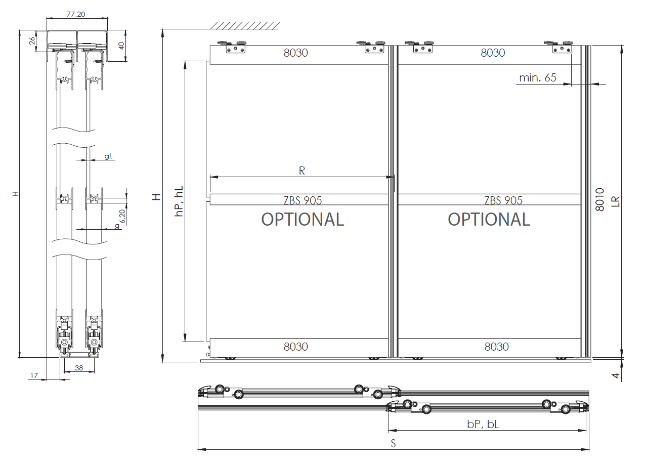 Montageskizze für BS-Komfort mit Rahmentyp C 2000 mm weiß
