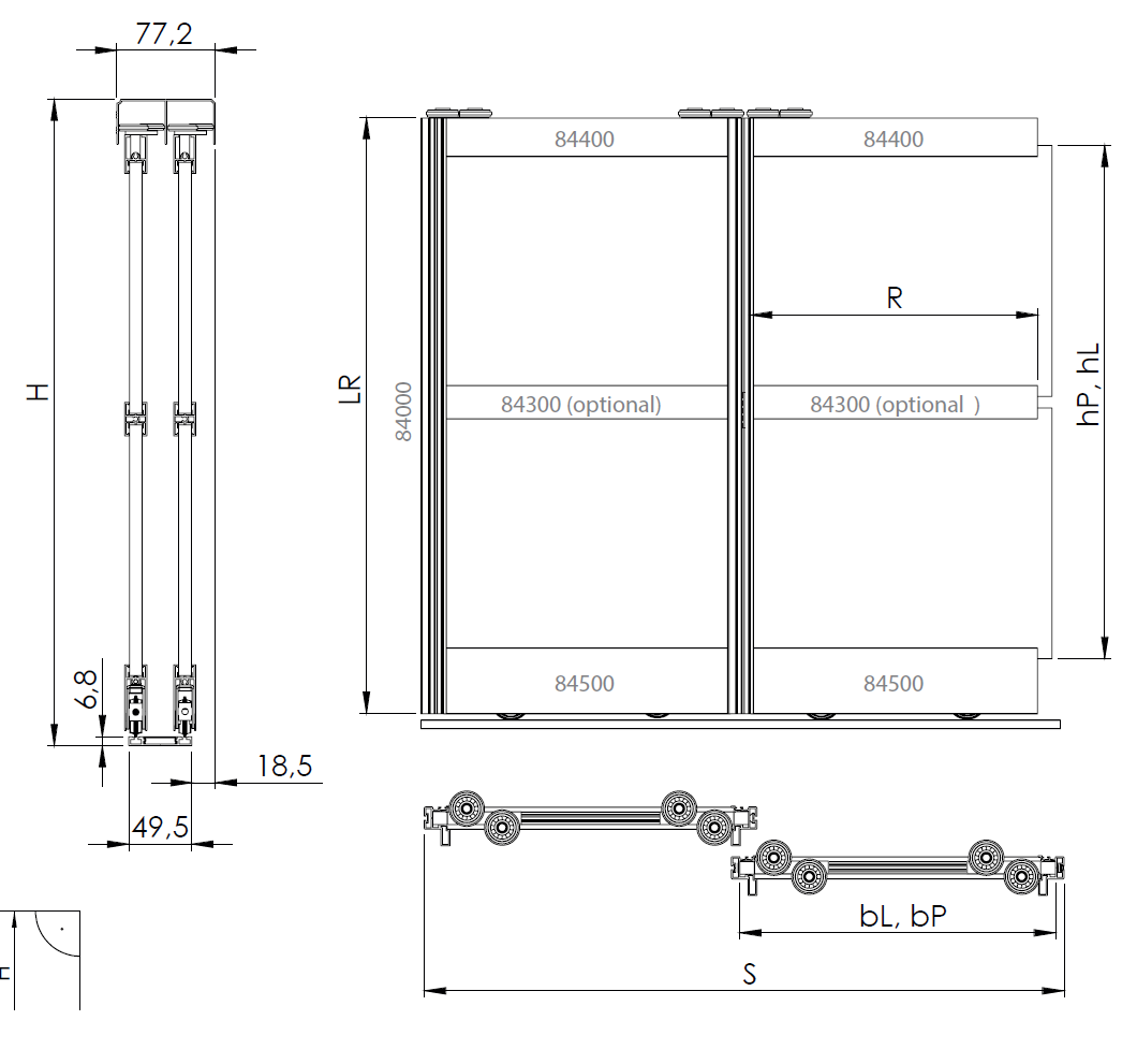 Montageskizze für BS-Komfort mit Rahmentyp B