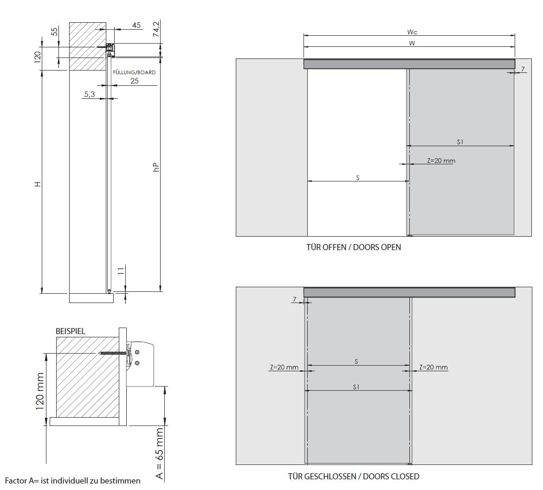 Montageskizze für HS-Komplett | Rahmenlose Holzschiebetür