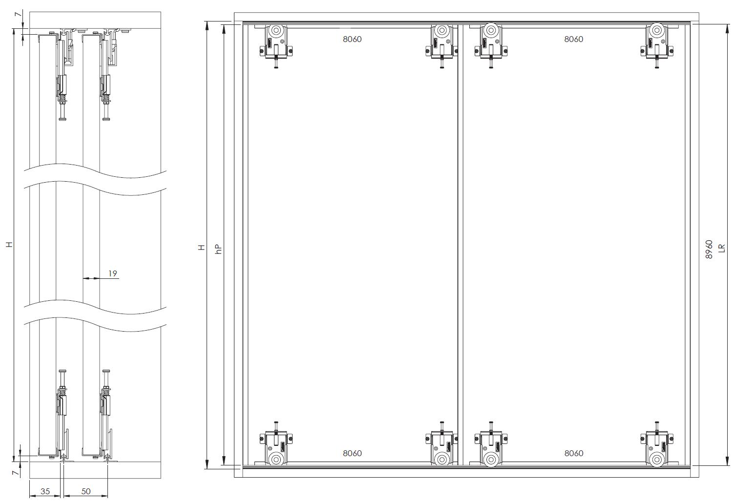 Montageskizze für MSB-Komfort mit Rahmentyp D