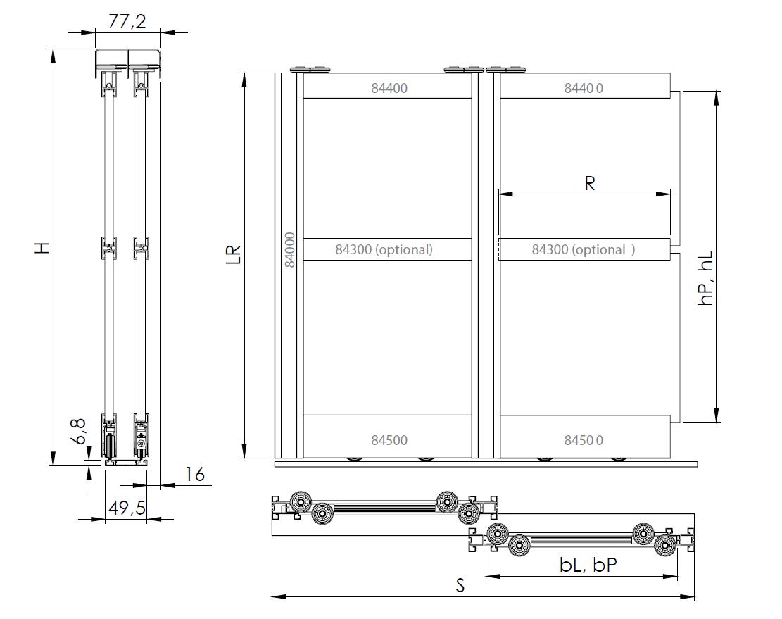 Montageskizze für BS-Komfort mit Rahmentyp A weiß