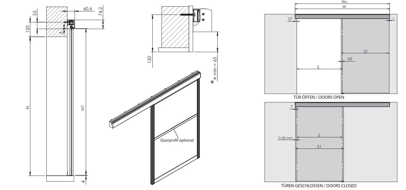 Montageskizze für HS-Komfort mit Rahmentyp A